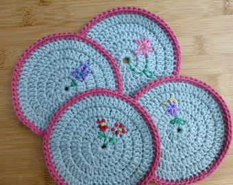 blue crochet doilies, coaster set with embroidered flowers, organic cotton coasters, organic table setting, Free UK shipping, blue and pink