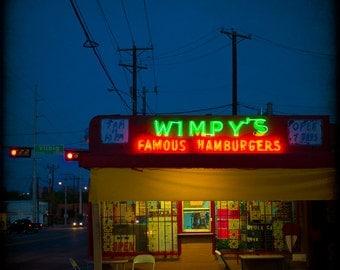 Wimpies Hamburgers Vintage Neon Sign Fine Art Photography Oak Cliff Dallas Texas