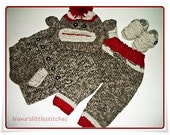 Knitted  Sweater SOCK MONKEY,Baby 4 piece set. 0-3 months. Made to Order BY Nana'slittlestitches