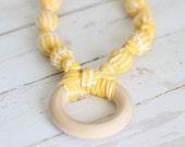 Teething Necklace in Yellow Herringbone