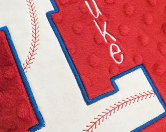 Personalized Baseball Minky Blanket