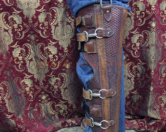Handmade Steampunk Leather Leg Brace