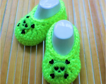 Crochet Baby Booties - Baby Shoes - Neon Green -  Baby Girl Booties - 0 - 3 months -Skull and Crossbones - Photo Prop