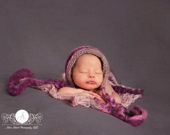 Newborn Photo Prop Baby Girl, Photo Prop Bonnet Photo Prop Layering Blanket Filler Blanket Mini Blanket, Photo Prop, Purple