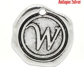 "1pc Initial ""W"" Antique Silver Charm. Personalized Small Pendant. Metal letter. 18mm Round Disc. Necklace Bracelet Component."