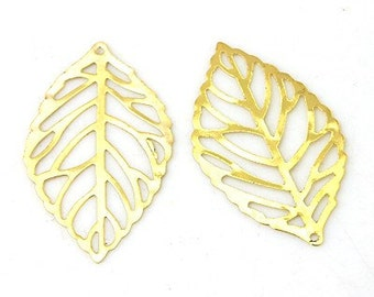 10pcs Golden skeleton Leaf Connector. Flexible Filigree Leaves Pendant. Earrings Necklace Bracelet Component.