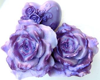 ROSE FLOWER SOAP, Elegant Lavender Purple Rose Gift Soap Set Handmade, Vegetable Based, Custom Scented