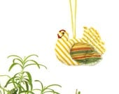 Little yellow hen fabric ornament for hostess gift kitchen decoration