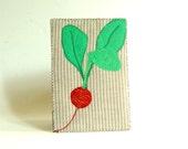Spring greeting card, Pink Radish, fabric postcard, Fiber Art Card, modern minimal, mini art, food art, gift for vegans, kitchen decor
