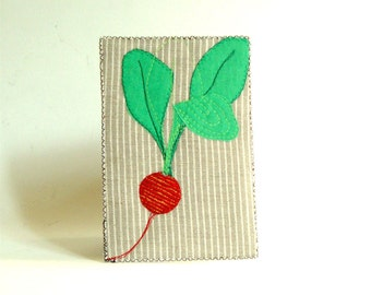 Spring greeting card, Pink Radish, fabric postcard, Fiber Art Card, modern minimal, mini art, food art, gift for vegans, kitchen decor