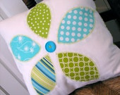 Reverse Applique Flower PIllow Cover in Cool