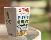 Simple Harry Potter Book Titles Mug - Medium, square, white mug with glasses, lightning bolt and owl - Hand Painted
