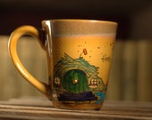 "Hobbit Hole Mug - Hand painted ""In a hole in the ground there lived a hobbit"" J.R.R. Tolkien Quote Mug - Large, rustic brown mug"