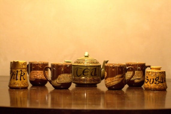 Lord of the Rings Hobbit Tea Set - J.R.R. Tolkien - Hand painted, 7 pc tea set with Hobbit character mugs - Earthy greens and browns
