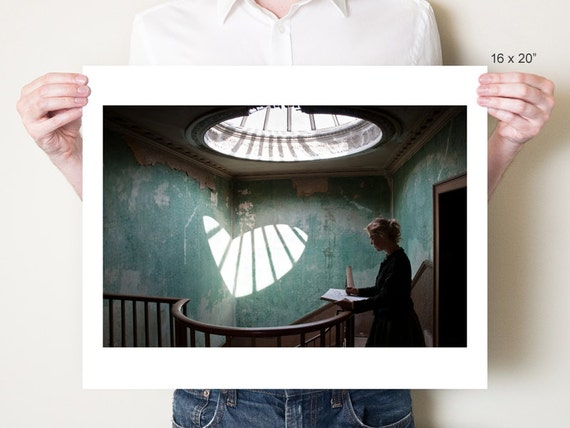 Valentine's Day heart art print. Surreal portrait photography, teal artwork. Fine art photograph by Tom Bland. Sizes from 5x7 to 30x40