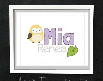 Cute Owls Custom Name Art Print