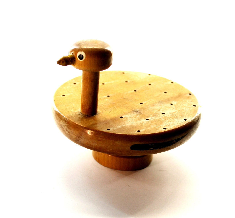 Novelty bird toothpick holder wooden bird by hobartcollectables - Toothpick dispenser bird ...