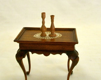 candlesticks turned from Pear dollhouse miniature