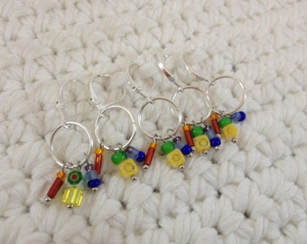 Removable Stitch Markers ROYGBIV - 5 Rainbow Chandelier Stitch Markers for Crochet and Knitting