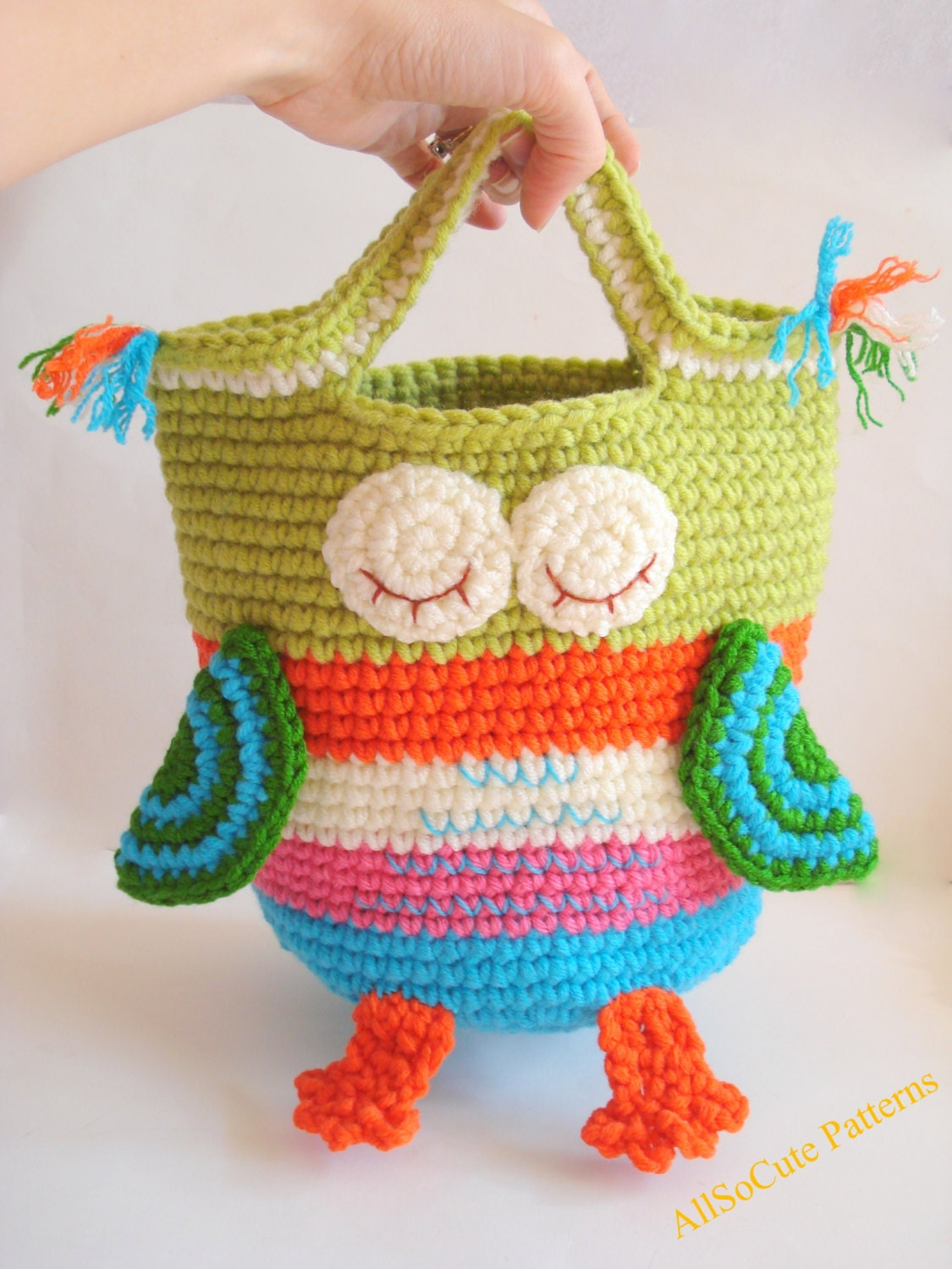 Crochet Owl Basket : Basket Owl Crochet Pattern Storage Basket Storage Bin by AllSoCute