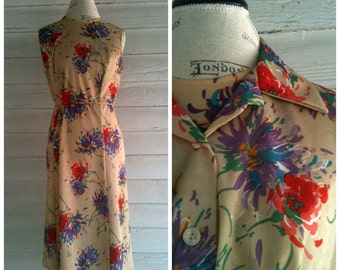 Vintage Floral Dress - 70s Tan Floral Sleeveless Dress with Matching Top and Belt