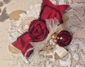 Champagne & Ruby Elegant Couture rosette feather headband/ hairclip