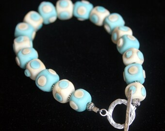 Handcrafted Square Ivory Turquoise Lampworking Beaded Bracelet Sterling Toggle Clasp