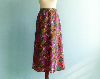 Vintage multicolor skirt / violet pink green blue / bold abstract floral print / high waist / long / medium
