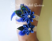 Royal Blue Wedding Garter Set, Something Blue Garter, Peacock Garters, Blue Prom Garters, White Lace Garters, Blue Beach Bridal Garter