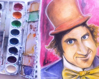 Willie Wonka (Gene) Watercolor  (ORIGINAL) 7x10