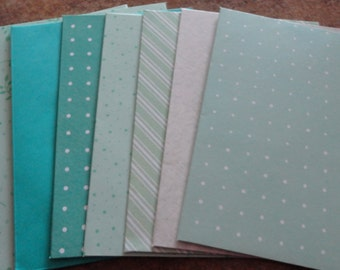 Assortment of 8 Handmade Mint, Green & Teal envelopes