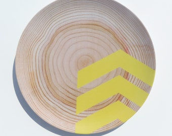 "Modern Wood Simple Chevron 10"" Melamine Plate, Citrine"