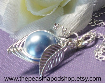 Sweet Peas In A pod Necklace Sterling Silver Swarovski Pearls. Choose Your Color Pearl For Family Sisters Bridesmaids Or Someone You Love