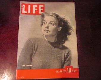 Collectible Life Magazine July 24, 1939 Ann Sheridan Cover Very Good Condition Great Ads