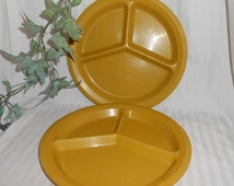 Vintage divided dinner plate divided picnic plate sectioned plate 3 section plates gold plastic sectioned plates camping dishes child plate
