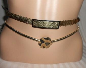 Vintage stretch belt gold metal reptile belt gold metal stretch coil belt retro metalic stretch metallic belts disco belts shiny gold belts