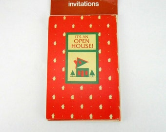 Vintage invitations Open House Invitations American Greetings red and green new old stock 8 cards and envelopes