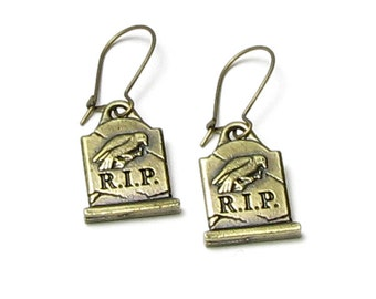 RIP Halloween Earrings, Rest in Peace, Tombstone, Edgar Allan Poe, Nevermore, The Raven, Gravestone, Antique Brass, Halloween Charm Jewelry