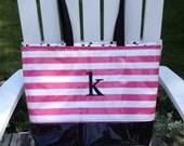 Designer Inspired Color Block Medium Monogrammed Tote/ Personalized Bag/ Personalized Beach Bag/ Medium Tote Bag/ pink tote bag/ Pool Bag