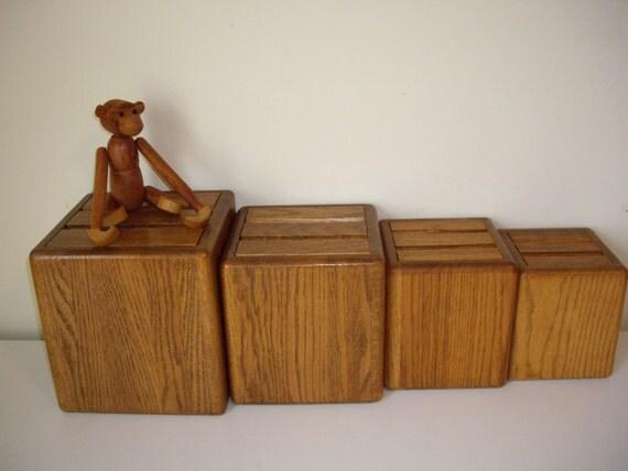 vintage wood canister set kitchen canisters wood boxes set of 4 vintage wooden kitchen canisters by