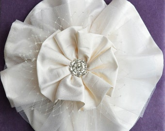 layered silk ruffle flower headpiece
