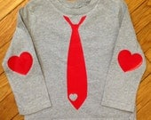 Valentines Day Heart Tie with Heart Patches on Long Sleeve elbows Heather Grey and Red