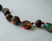Jewelry Supplies, Polymer Bead Variety Set, Hand Crafted Green, Orange, Brown