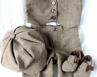 Brown Infant Child Baby Vest Suit Cap Hat Pants Booties Shoes