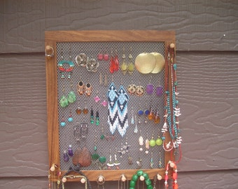 Jamaican monkeypod jewelry organizer - hardwood organizer - wall mounted organizer - jewelry display - earring holder - made in Montana