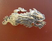 Pele's Dog Pin or Dragon Dog Brooch / sterling silver - metal brooch