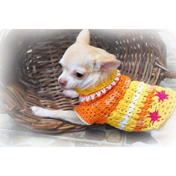 Cute Dog Clothes Unique Crochet Pet Clothing Orange Flower