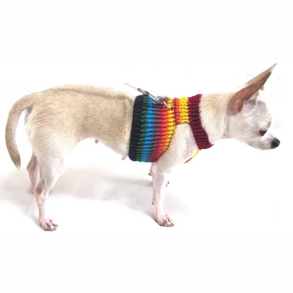 Designer dog harness vest rainbow pet collars and by myknitt Dog clothes design your own