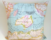 Map pillow cover - world map cushion cover - World map pillow cover- decorative pillows - blue pillow cover - decorative map pillow