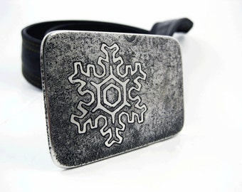 Snowflake Belt Buckle - Etched Stainless Steel - Handmade